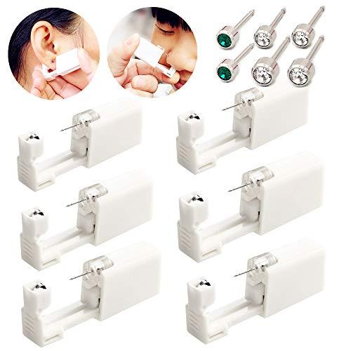 Einweg-Ohr-Piercingpistole mit Ohrsteckern, kein Schmerz, für Mädchen, Damen, Herren, 6 Stück