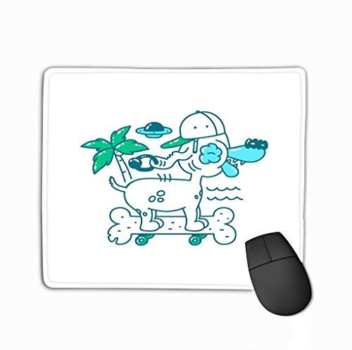 Customized Rectangle Mousepad,Cute Gaming Mouse Pad Mat 11.81 X 9.84 Inch Youth Print Design cool Dog hat Skateboard Bone Rides Beach Palm Tree UFO sea Doodle Illustrat