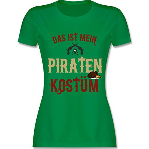 Karneval & Fasching - Das ist mein Piraten Kostüm - M - Grün - L191 - tailliertes Premium T-Shirt mit Rundhalsausschnitt für (Kostüm Freibeuter Weibliche)