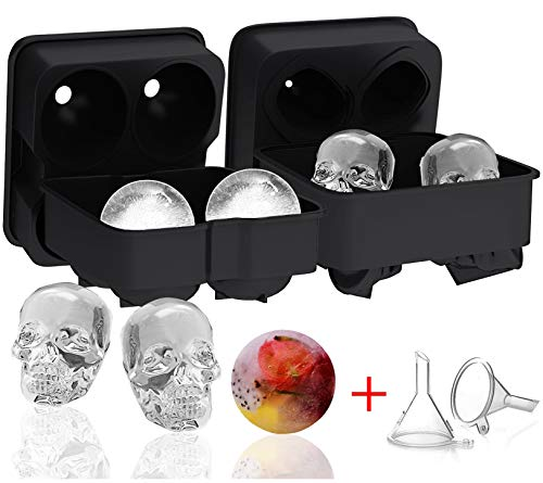H.Yue 2 Pack Ice Ball Maker Skull Mold, Silicone Ice Cube Trays, Giant Black Skull & Round Ice Cube Maker with 2 Plastic Funnels for Whiskey Wine, Cocktails and Beverages (2 Pack(Skull&Ball)) - Ice Ball Tray