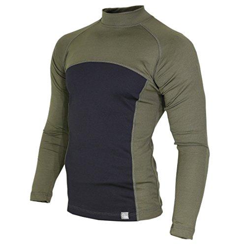 Raptor Hunting Solutions Merino Wool Thermal Underwear Base Layer Top Long Sleeve Shirt Green Black