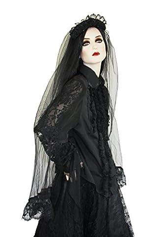 Schwarze Hochzeit Gothic barock Schleier mit Spitze lang schwarz Rosen romantisch WGT