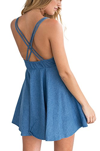 Miss Floral® Womens Super Plunge Backless Blue Mini Smock Dress Size 6 – 14
