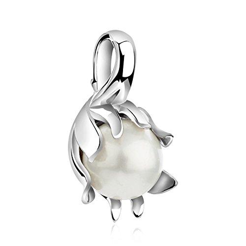 erfreulich und schön, Pure 925Sterling Silber Wasser Lilly Design Anhänger mit Muschelkernperle. (Exotische Wasser-designs)