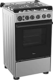 Midea 4 Burners Gas Cooker With Cast Iron Pan Support 40 Liters - BME55007FFD, 1 Year Warranty