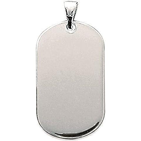 Pendente in argento, larghezza: 18 mm, altezza: 31 mm, in argento rodiato 925/000 (rettangolare) con incisione in omaggio