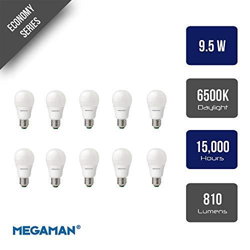 Megaman 143374 LED-Leuchtmittel, 9,5 W, GLS Style, E27, ES 6500 K, Tageslichtweiß, 15000 Stunden Lebensdauer, 10 Stück -