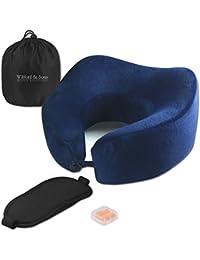Set de almohada de viaje – Antifaz para dormir, tapones para oído + bolsa para viajar, avión | Espuma viscoelástica, cuello levantado | Cómoda, ergonómica, suave | Funda lavable | Adultos, niños