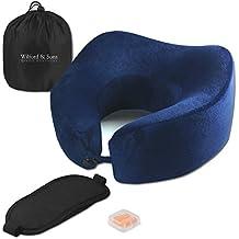 Set de almohada de viaje – Antifaz para dormir, tapones para oído + bolsa para viajar, avión   Espuma viscoelástica, cuello levantado   Cómoda, ergonómica, suave   Funda lavable   Adultos, niños