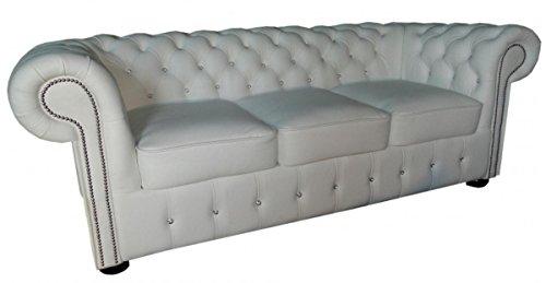 Casa Padrino Chesterfield Echtleder 3er Sofa in weiß mit Glitzersteinen 200 x 90 x H. 78 cm - Luxus Möbel | Wohnzimmer > Sofas & Couches > Chesterfield Sofas | Echtleder - Leder | Casa Padrino