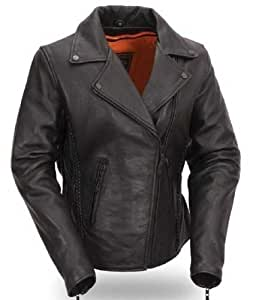 First Manufacturing Women's Blacked Out Hourglass Motorcycle Jacket (Black, XXXX-Large) by First Manufacturing