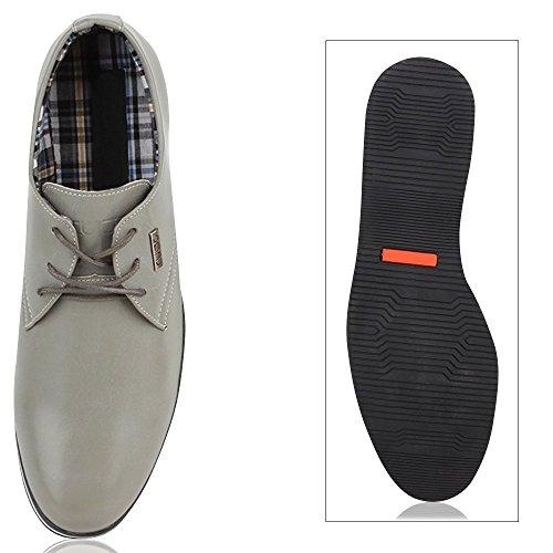 Modische Herren Schuhe | Business Schnürer | Halbschuhe Sneakers | Prints Lederoptik Freizeitschuhe Hellgrau Weiss