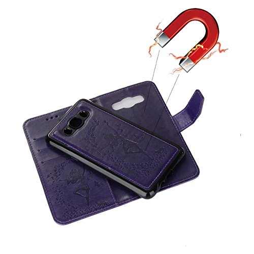 Abnehmbare 2 in 1 Crazy Horse Texture PU Ledertasche, Fairy Girl Embossed Pattern Flip Stand Case Tasche mit Lanyard & Card Cash Slots für Samsung Galaxy J710 ( Color : Blue ) Purple