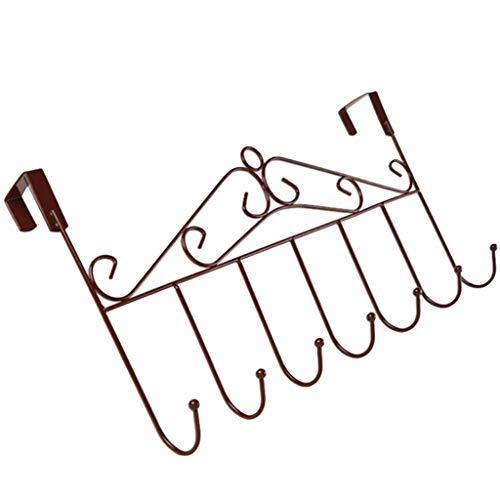 VNEIRW Türgaderobe Hakenleiste Edelstahl Kleiderhaken mit 7 Haken, Türhakenleiste Ohne Bohren Vintage Europäischen Stil Türhaken für Handtüche, Hüte, Schlüssel, Handtaschen, Gürtel (Braun) (Vintage Werkzeug-gürtel)