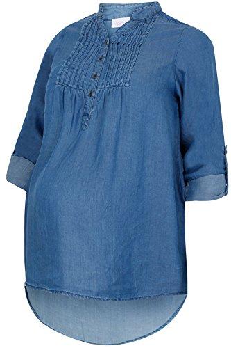 Plus Taille Femme Bump it Up Maternité Chambray perlés brodés Dessus Avec ourlet trempé Bleu