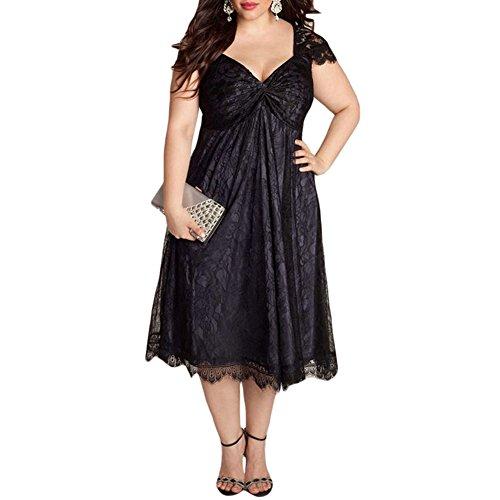 Uranus Damen Übergröße Eine Linie Blumen Spitze Verschönert Swing Abend Party Kleid (Kostüm Muster Toga)