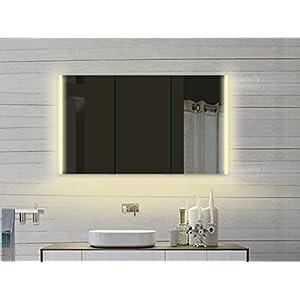 Lux-aqua Design LED Spiegelschrank mit Alu-Rahmen in Kalt/Warmweiß LLC120x70DP, Silber