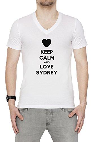 keep-calm-and-love-sydney-uomo-t-shirt-v-collo-bianco-cotone-maniche-corte-mens-t-shirt-v-neck-white