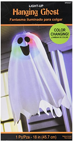 Amscan Led Light Up Friendly Ghost Halloween Trick Or Treat Party Hanging Decoration (1 Piece), White, 18 x 6 by Windy City Novelties