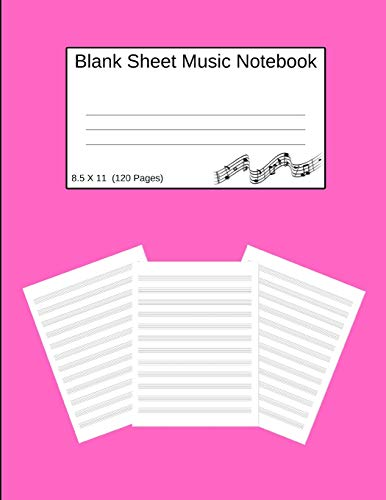 Blank Sheet Music Notebook: Manuscript Staff Paper Solid Pink(8.5 X 11) 120 Pages -