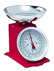 Hanson Traditionelle Küchenwaage, 5 kg, rot