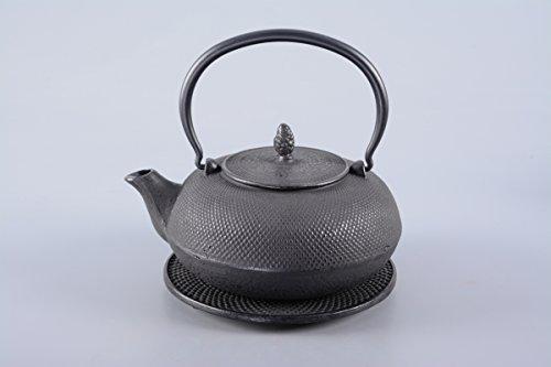 Gusseisen Teekanne / Teeset / Teeservice 4-teilig Arare 1,2l in schwarz INKLUSIVE Edelstahlsieb und Untersetzer, Original Aricola® - 2