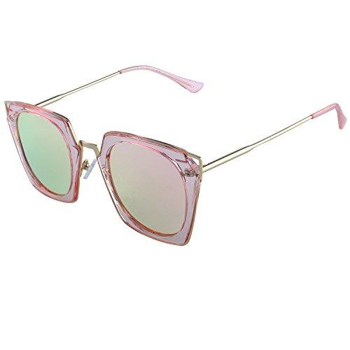 DUCO polarisierte Square Damen Sonnenbrille Cateye umrandete Mode geometrische W001 (Rosa)