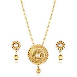 I Jewels 24K Gold Plated Traditional Pendant Set with Designer Chain for Women MS102W