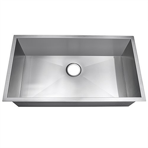 Golden Vantage 32 Single Basin Bowl Undermount Handmade 16 Gauge Stainless Steel Kitchen Sink by Golden Vantage - 16 Kitchen Sink Single Gauge Bowl