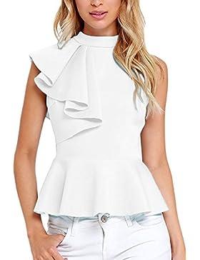 Mujer 2017 Verano Peplum Casual Elegante Oficina Cuello Redondo Ruffle Lado Top Shirt Blusas Camisas