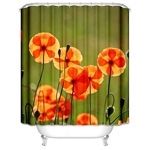 Aeici Badewannenvorhang Orange Blumen Badvorhang Ringe Polyester Duschvorhang Bunt 165X200CM