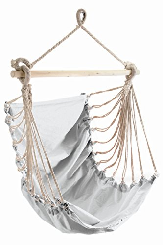 Poltrona sospesa fashion bianco incl. fissaggio e a dondolo piuma.