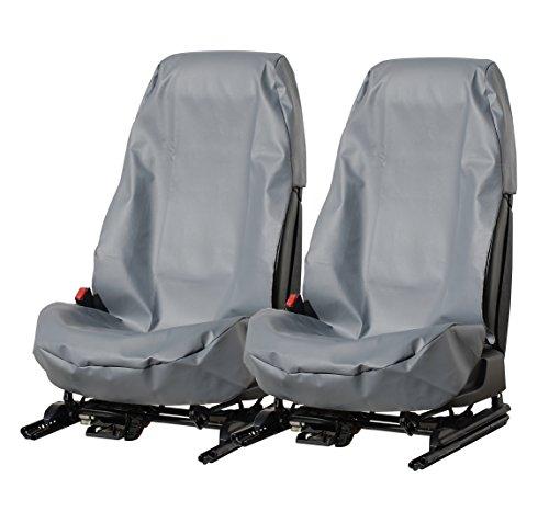 L&P Car Design GmbH A076 2 Stück Sitzschoner Werkstattschoner Sitzbezug aus Robustem Kunstleder Grau Schonbezug Wasserdicht Pflegeleicht mit und Ohne Airbag Seitenairbag