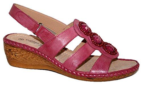 Sandales d'été à talon compensé légères Mesdames fucshia flower