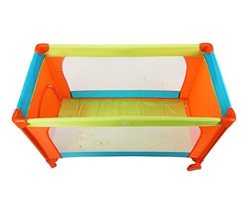 LuvLap Sunshine Baby Playpen Playard / Folding Baby Bed Cum Cot / Convertible Crib - (Orange / Green / Blue)
