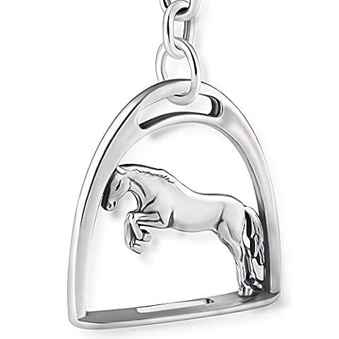 STERLL Schlüssel-Anhänger Pferd Steigbügel, aus massivem oxidiertem 925 Sterling-Silber, ideal als Geschenk für Mann oder Freund, mit Schmuckbeutel
