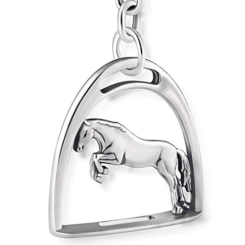 STERLL Herren Schlüssel-Anhänger Pferd Steigbügel Sterling-Silber 925 Oxidiert Schmuck-Beutel Kleine Geschenke