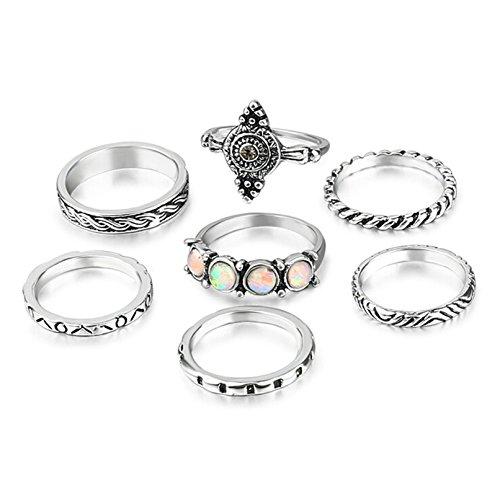 Beydodo 7 Stück Midi Ringe Damen Orientalisch mit Opal Rund Knuckle Ring Set Stapelring Silber (Echter Opal Ring Größe 7)