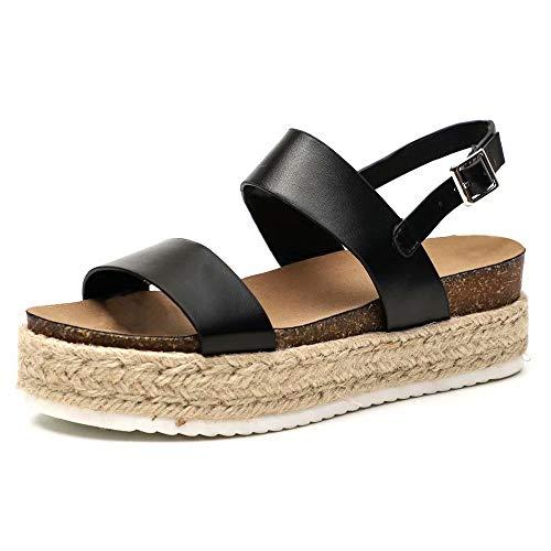 Keilabsatz Sandalen Damen, Sommer Keil Peeptoe Sandaletten Elegant Slingback Flatform Bio Schuhe Schwarz Schlange Beige Braun Größe 35-43 EU Schwarz 39 (Gladiator Flatform Sandalen)