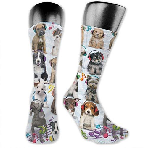 Puppy Headphones Compression Socks Crew Socks Women & Men-Best Athletic & Medical Running Flight Travel Pregnant Yellow Socks -
