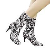 Tatis Shoes Suede Print Niet verziert Runde Kopf High Heel Mitte Stiefel Damen Stiefeletten mit hohem Absatz Leoparden Bedruckte Schuhe mit kurzen Plüschstiefeln Lässige Mode