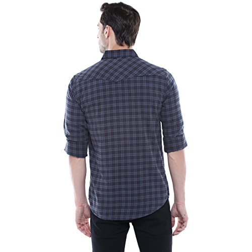 161feb1212 Dennis Lingo Men's Checkered Grey Slim Fit Casual Shirt - ShopingSpider