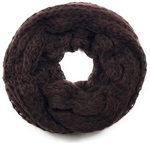 Feinstrick-Loop Schal Halstuch Schlauchschal Rundschal Tuch Damen Women uni einfarbig, Dunkelbraun Schoko Kaffee, Einheitsgröße