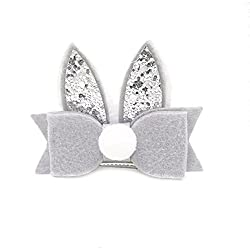 Dosige 1 Pcs Lovely Sequins Rabbit Ear Hair Clips Baby Girls Hairpins Headwears Alligator Clips Barrette, Gray