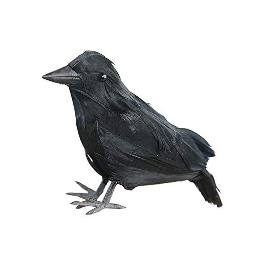 Rabe deko Halloween Realistische Crow Prop schwarz gefiederte Crow für draußen und drinnen Crow Dekoration