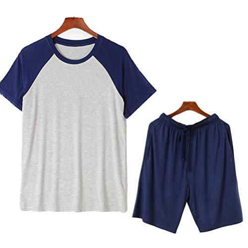 Männerschlafanzug Herren Schlafanzug Shorts Schlafanzug-Set,Model3,L