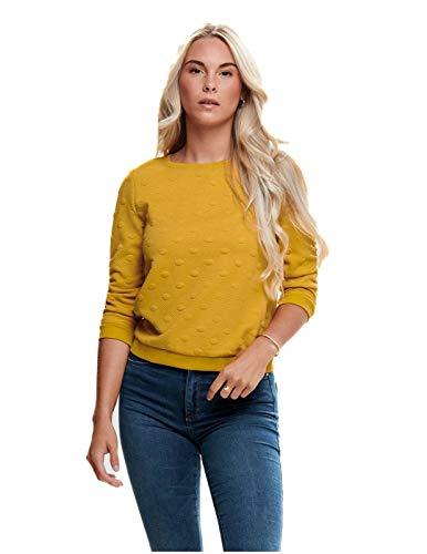 ONLY Damen ONLKIMBERLY Joyce 3/4 O-Neck SWT Sweatshirt, Gelb (Golden Yellow Pattern: Flower), 36 (Herstellergröße: S)