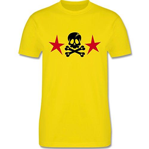 Piraten & Totenkopf - Totenkopf mit Sternen - Herren Premium T-Shirt Lemon Gelb