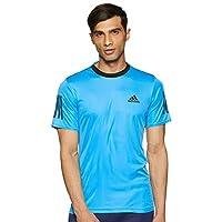 adidas Men's Club 3 Stripe T-Shirt, Black, Large