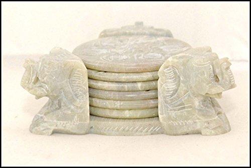 Handicrafts Stone Coaster Set (Triangle Shape) with 3 Elephant Faces Carved (Inlay Tea Coaster)